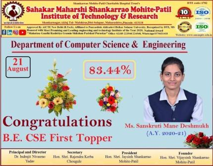 BE CSE First Topper